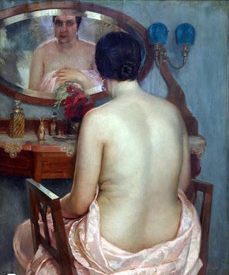 Desnudo ante el espejo, Anselmo Miguel Nieto, Pintura Española, Pintores Españoles, Pintor Español, Mujer desnuda, Mujeres desnudas, Obras Anselmo Miguel Nieto
