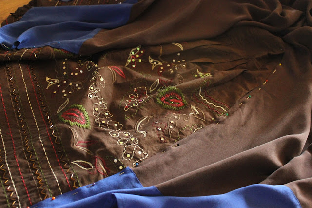 detail of a vintage skirt and silk sheath fusion dress