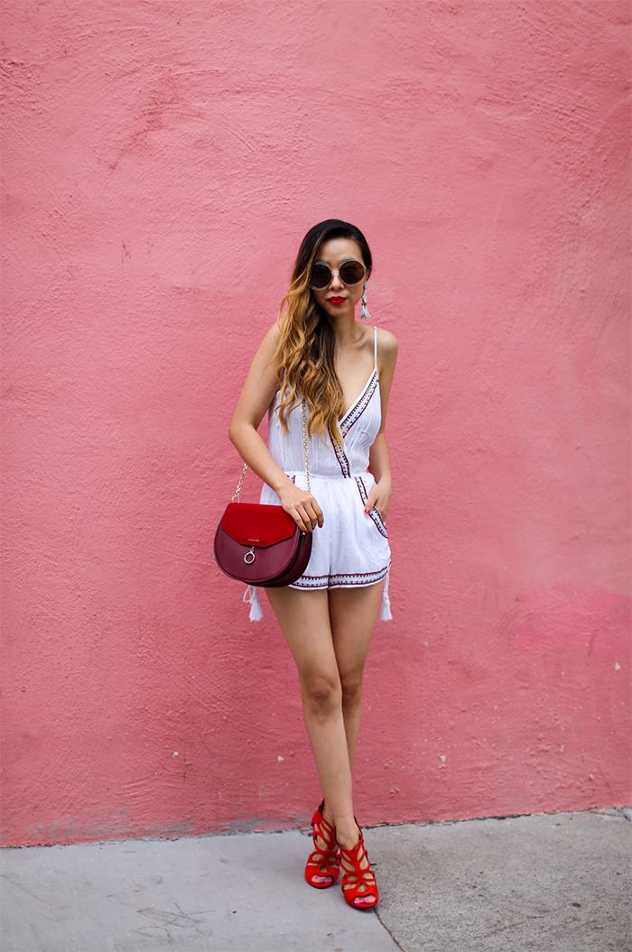 Embroidered woven romper, band of gypsies embroidered woven romper, romper, chloe sunglasses, red cross body bag, bauble bar earrings, giuseppe zanotti sandals, summer style, san francisco street style, chinese valentines day outfit, chinese valentines day