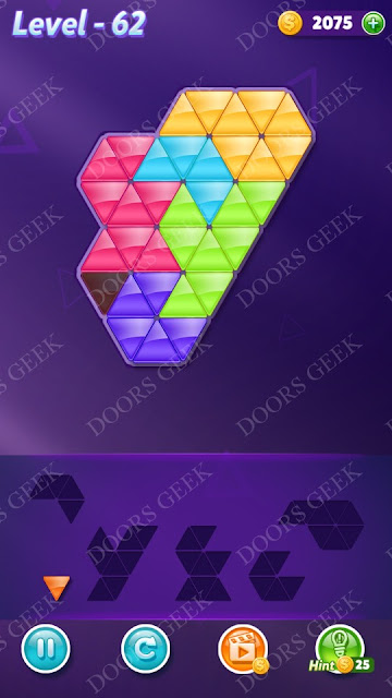 Block! Triangle Puzzle 6 Mania Level 62 Solution, Cheats, Walkthrough for Android, iPhone, iPad and iPod