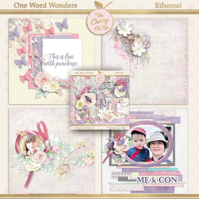 Ethereal Scrapbooking Kit and Template