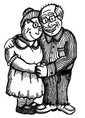 Abuelos Abrazados Para Colorear Y Pintar Colorea El Dibujos