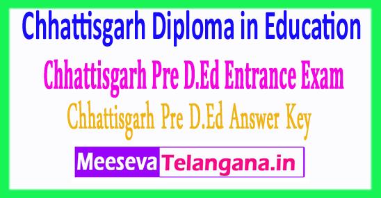 Chhattisgarh Pre Diploma in Education Vyapam Entrance Exam CG Pre D.Ed Answer Key 2018 Download