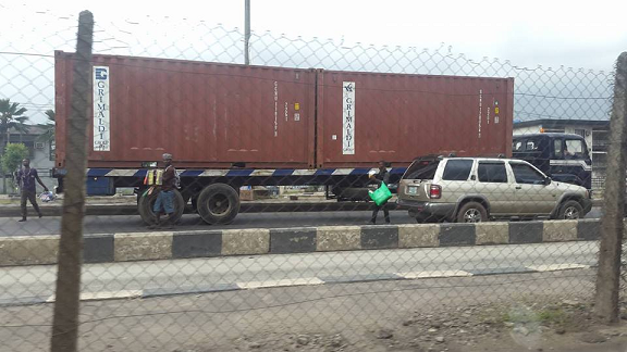 containers lagos roads