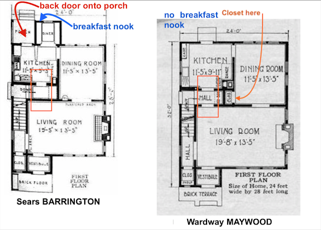 catalog images of floor plan comparing breakfast nook issue Sears Barrington  vs Wardway Maywood