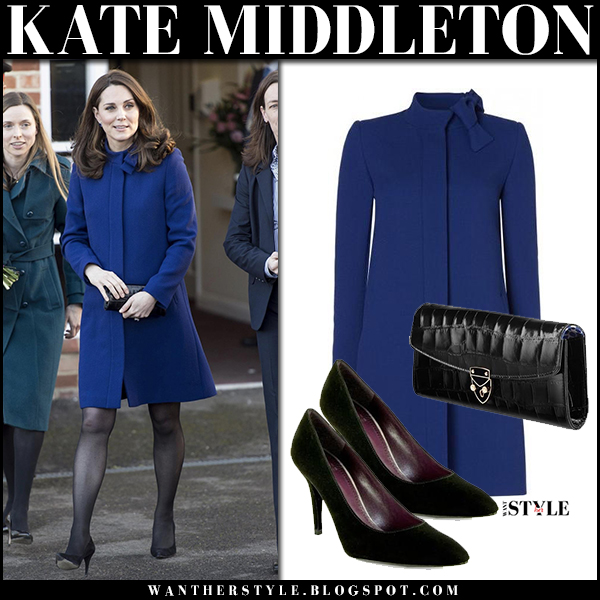 Kate Middleton in royal blue coat and black pumps stuart weitizman royal family fashion february 7