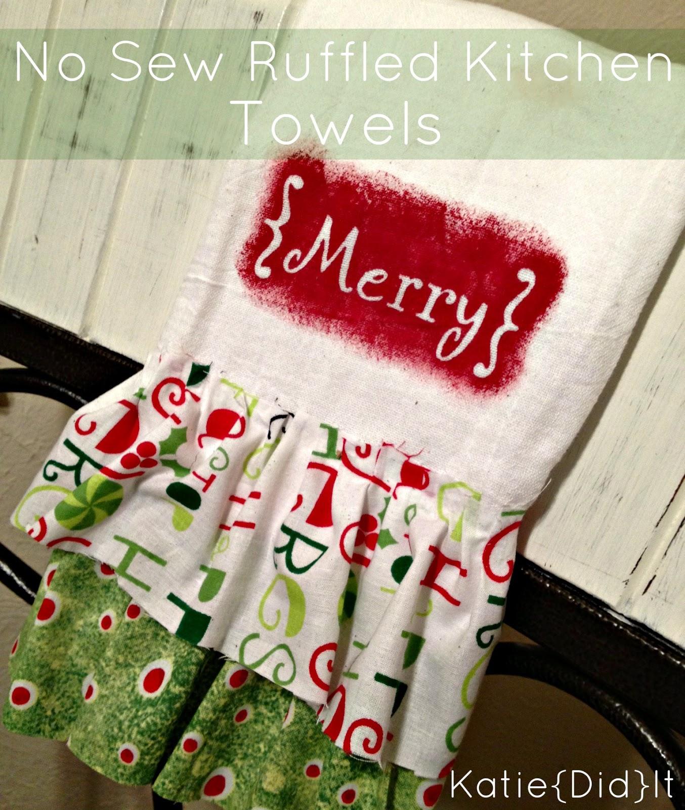 No Sew Ruffled Kitchen Towels - Katie {Did} It - Sugar Bee