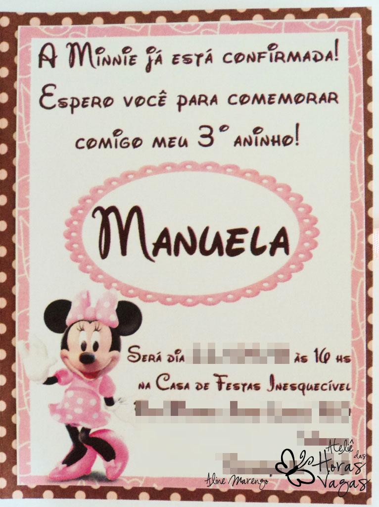 Ateliê Das Horas Vagas Aline Barbosa Convite Minnie Mouse Poá