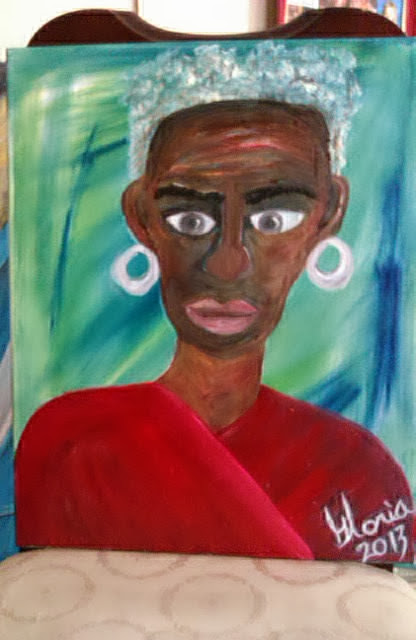 African-American-woman-ethnic painting, by Gloria Poole; ethnic series; yr 2013