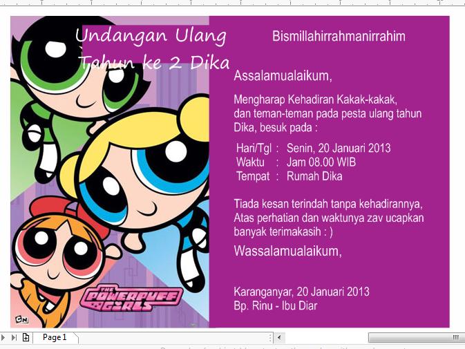 Download Contoh Undangan Anak Perempuan Motif Kartun Font Format