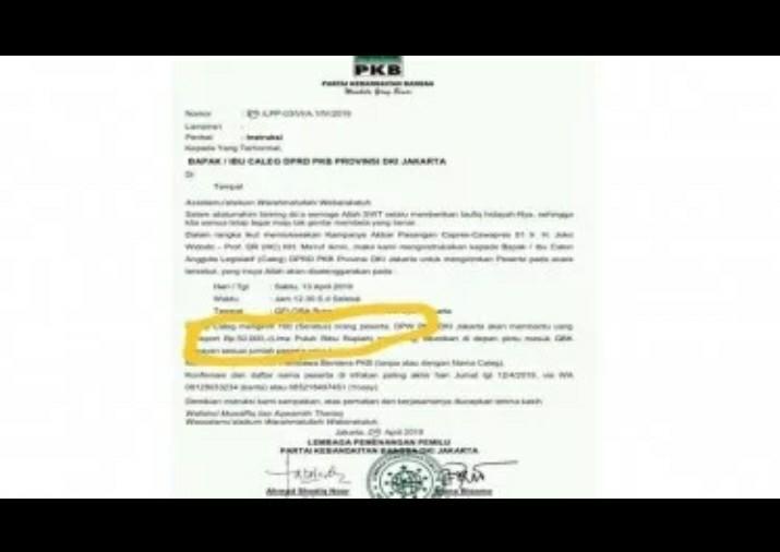 Beredar Surat Caleg PKB Harus Bawa 100 Orang ke GBK, Upah Rp50 Ribu per Orang