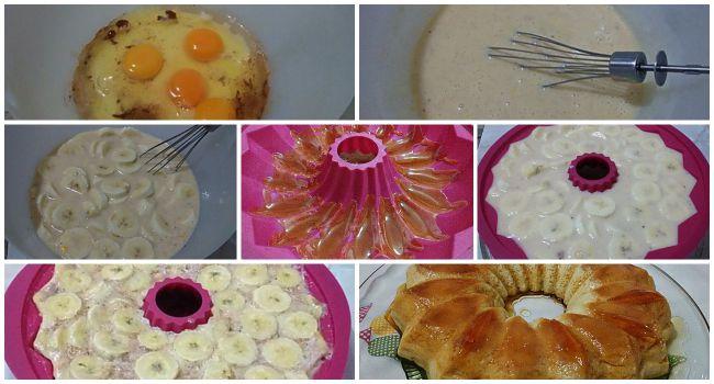 Preparación del pudín de plátano en el microondas