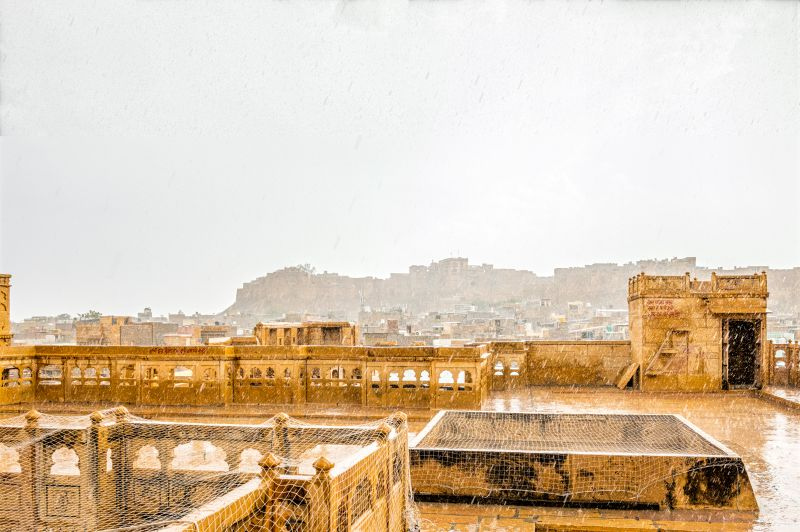 Jaisalmer Fort as seen from Patwa Haveli amidst rain