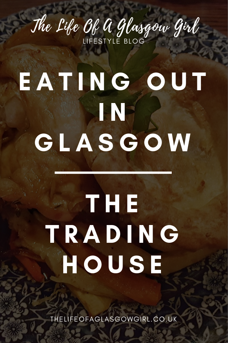 Pinterest graphic for blog post - The Trading House Glasgow. Close up photo of a roast dinner on a blue plate. There is chicken, yorkshire pudding and mash potatoes