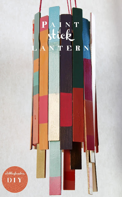 This unique paint stick lanterns is DIY and full of color.