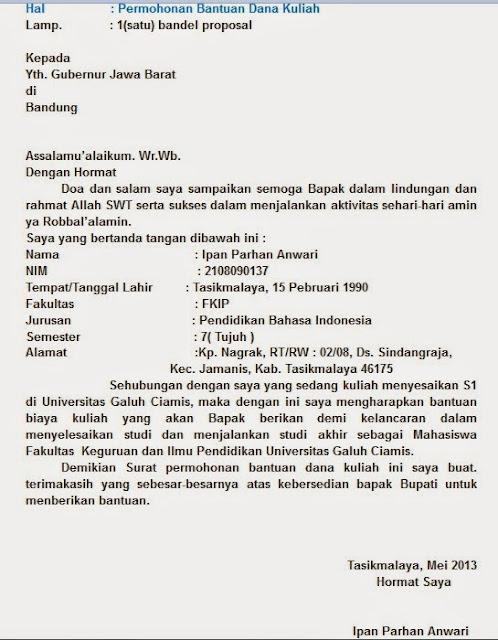 Surat Permohonan Bantuan Dana Pendidikan