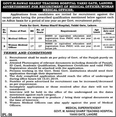 Govt Muhammad Nawaz Sharif Teaching Hospital Lahore Jobs 2019 for 16+ Medical Officers Man/Woman