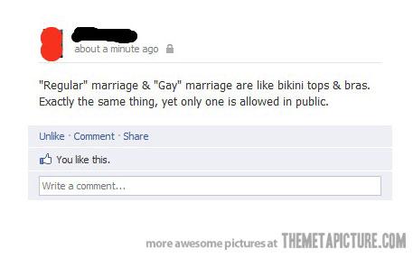 regular marriage vs. gay marriage