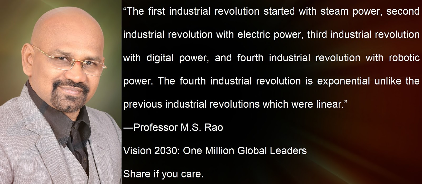 Professor M S Raos Vision 2030 One Million Global Leaders