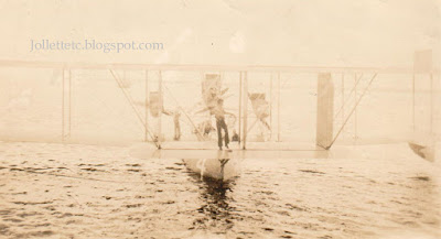 Sailor walking on biplane wing USS Colorado 1920s https://jollettetc.blogspot.com