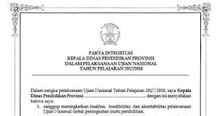 Contoh Pakta Integritas UN (Ujian Nasional)