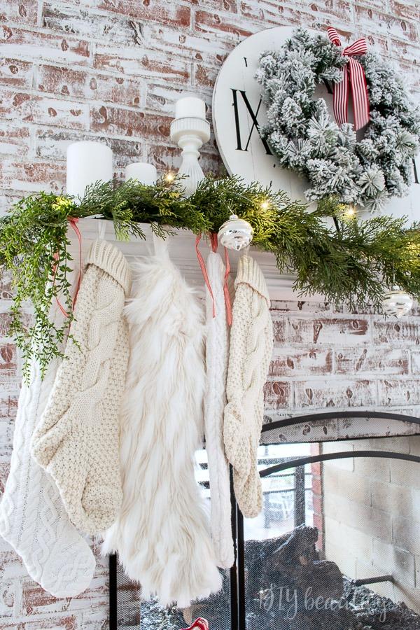 hanging white stockings on mantle