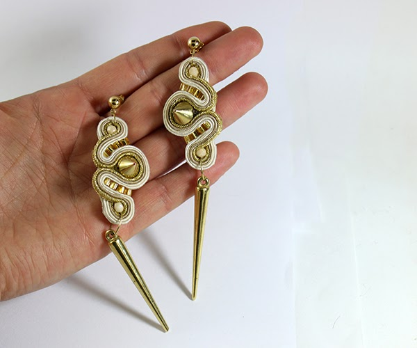 gold and beige soutache earrings, soutache handmade jewelry