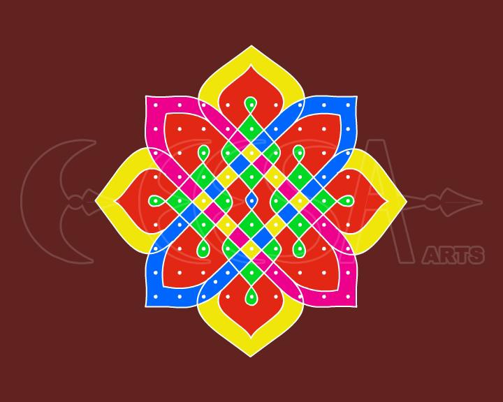 Rangoli: Dotted Rangoli | Chukkala Muggulu | Kolam - 6 - Dots 9 x 9