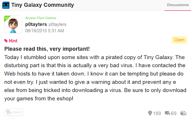 p0tayters Tiny Galaxy Miiverse announcement pirated copies virus