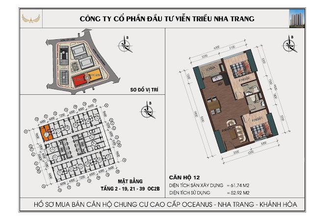 Sơ đồ căn hộ số 12 tòa OC2BViễn Triều Nha Trang