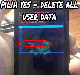 Memilih yes - delete all user data