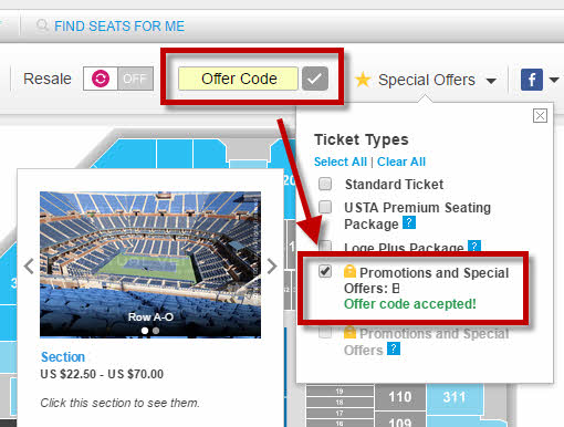 US Open 2-for-1 Offer Code