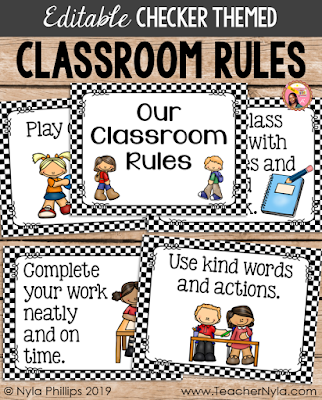 Editable Checkered Classroom Rule Posters