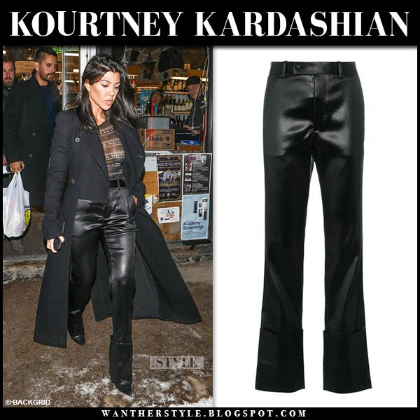 Kourtney Kardashian in black coat and black shinny helmut lang pants celebrity night out style december 30