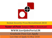 Indian Security Press Recruitment 2018 – 35 Junior Office Assistant