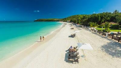 Plage de Barbuda, vue du ciel