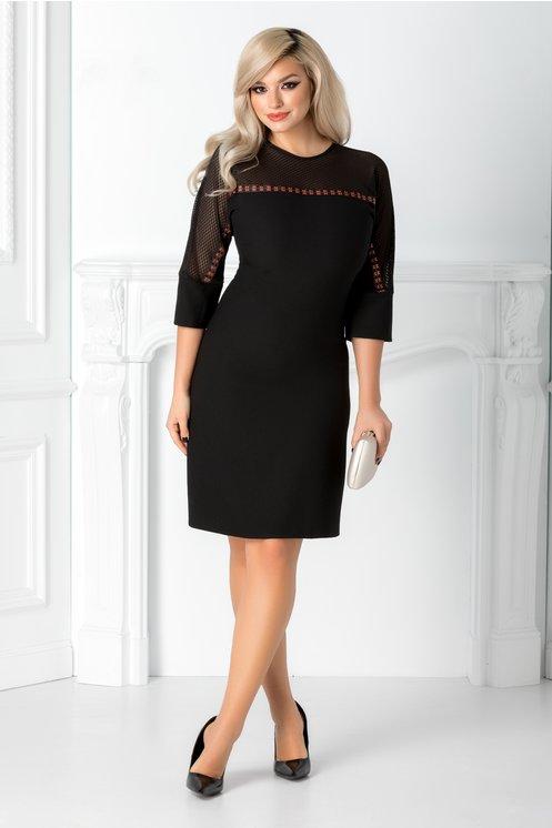 Rochie ieftina eleganta neagra cocktail cu maneca raglan