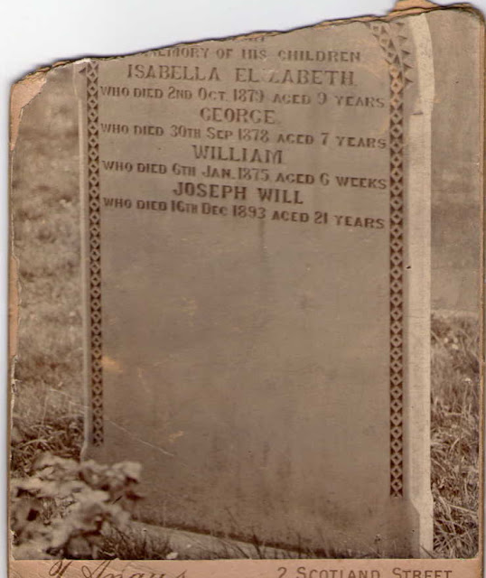 Photograph of headstone taken in the early 20th century
