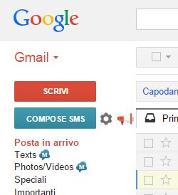 sms gmail e facebook per Android
