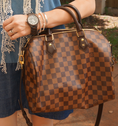 Away From The Blue Louis Vuitton Damier Ebene 30 speedy bandouliere JORD Fieldcrest black