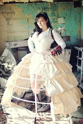 Open front white hoop skirt cage crinoline petticoat with white open front tiered flounce overskirt