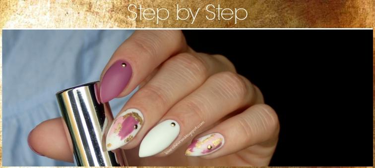 Brush stroke nail art   Cosmetics Zone   160 Dark Lilac   003 Intense White   F.O.X Pigment 288   Strong Base   Top Mat   folia metaliczna w kolorze żółtego złota   złote dźety    dry brush nail art   tutorial paznokciowy   brush stroke step by step   manicure hybrydowy krok po kroku  