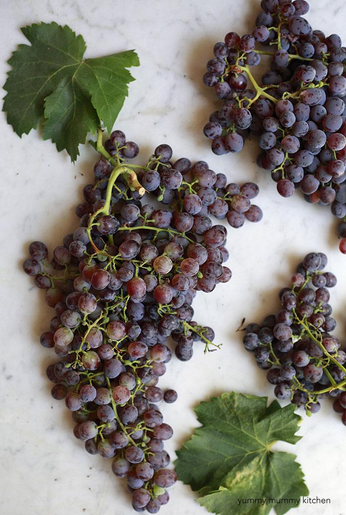 homegrown grapes for quinoa salad
