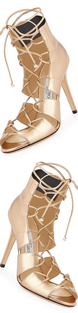 Jimmy Choo Myrtle Metallic Lace-Up Sandal, Gold