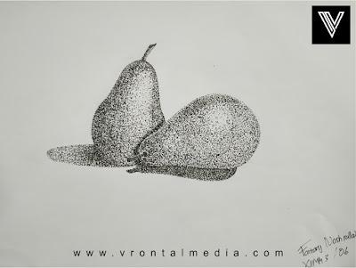 contoh gambar pointilis buah pir