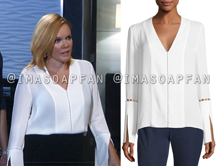 Ava Jerome, Maura West, White Blouse with Pearl Bead Trim, General Hospital, GH