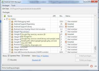Android SDK Manager Google Play Services