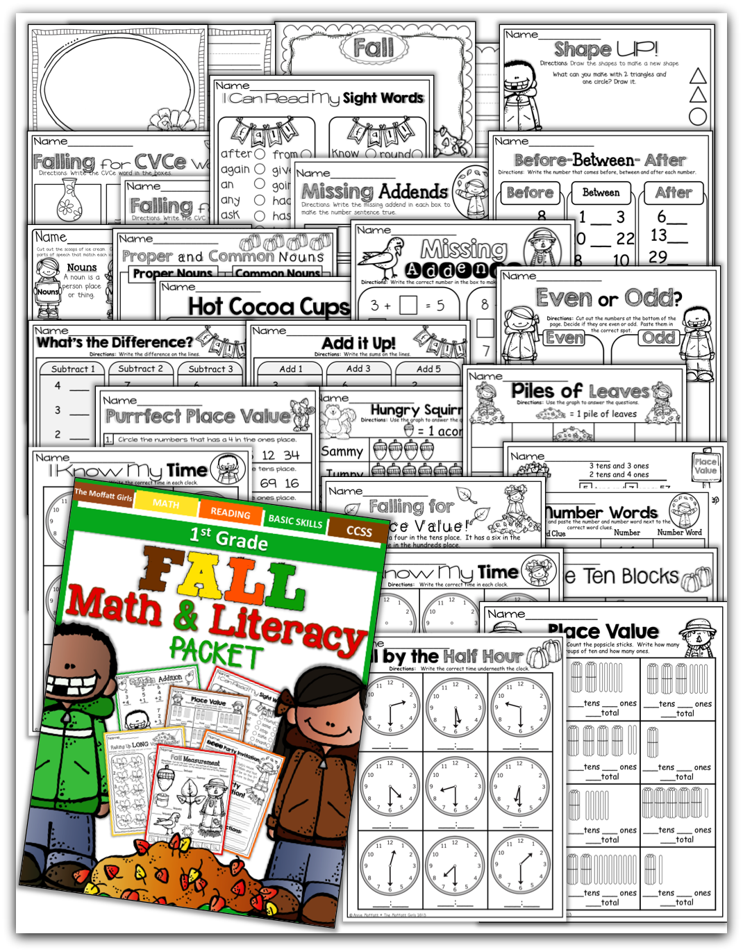 Fall Math and Literacy Packet (1st Grade) [ 1371 x 1070 Pixel ]