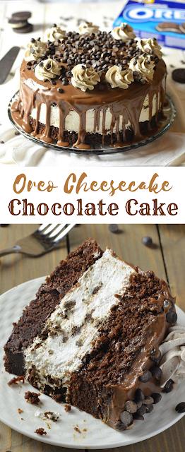 Oreo Cheesecake Chocolate Cake #Chocolate #Oreo