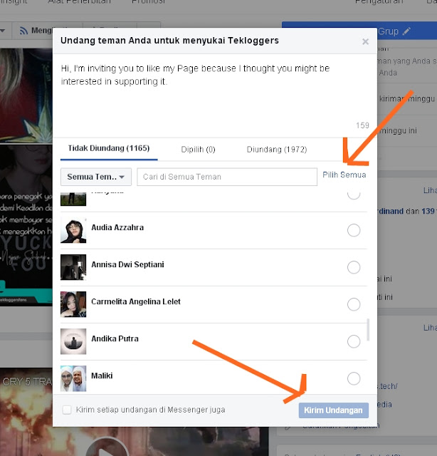 Cara Invite Semua Teman Like Fanspage